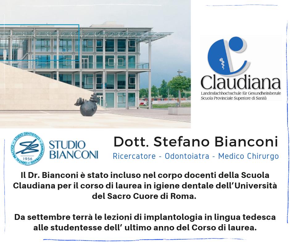 Il Dr. Bianconi è Stato Incluso Nel Corpo Docenti Della Scuola Claudiana – Bolzano